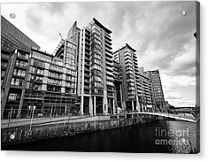 The River Irwell Between Spinningfields And Salford Manchester England Uk Acrylic Print by Joe Fox
