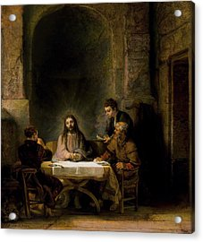 The Supper At Emmaus Acrylic Print by Rembrandt van Rijn