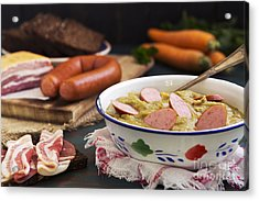 Traditional Dutch Pea Soup And Ingredients On A Rustic Table Acrylic Print