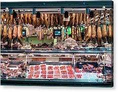 Traditional Spanish Cured Meats And Sausages La Boqueria Market  Acrylic Print