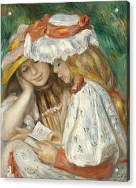 Two Girls Reading Acrylic Print by Pierre Auguste Renoir