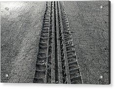 Tyre Track In The Ground Acrylic Print by Allan Swart