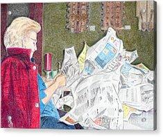 Acrylic Print featuring the drawing Unwrap by Yoshiko Mishina