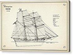U.s. Revenue Cutter Eagle - 18th Century Acrylic Print by Jose Elias - Sofia Pereira