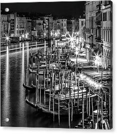 Venice View From Rialto Bridge - Monochrome Acrylic Print