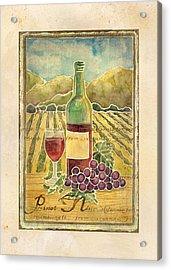 Vineyard Pinot Noir Grapes N Wine - Batik Style Acrylic Print by Audrey Jeanne Roberts