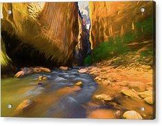 Virgin River - Zion National Park Watercolor Acrylic Print