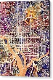 Washington Dc Street Map Acrylic Print by Michael Tompsett