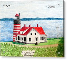 West Quoddy Head Lighthouse Acrylic Print by Frederic Kohli