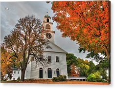 White Church In Autumn Acrylic Print
