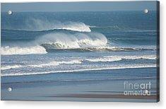 Windy Seas In Cornwall Acrylic Print by Nicholas Burningham