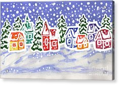 Winter Landscape With Multicolor Houses, Painting Acrylic Print by Irina Afonskaya