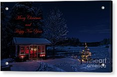 Acrylic Print featuring the photograph Winter Night Greetings In English by Torbjorn Swenelius