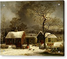 Winter Scene In New Haven, Connecticut Acrylic Print by George Henry Durrie