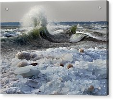 Winter Waves At Whitefish Dunes Acrylic Print