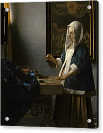 Woman Holding A Balance Acrylic Print by Jan Vermeer
