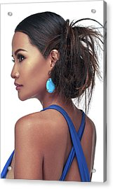 Woman In Messy Side Bun With Highlights In Blue Dress Acrylic Print