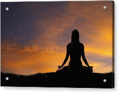 Woman Practicing Yoga Acrylic Print