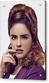 Woman With Updo Hairstyle With Curls At The Back Acrylic Print