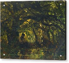 Woodland Scene With Pan Playing A Flute Acrylic Print