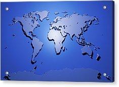 World Map In Blue Acrylic Print by Michael Tompsett