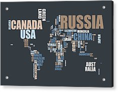 World Map In Words Acrylic Print