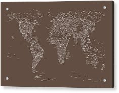 World Map Of Cities Acrylic Print