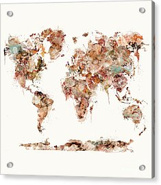 Acrylic Print featuring the painting World Map Watercolor by Bri B