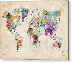 World Map Watercolor Acrylic Print by Bri B