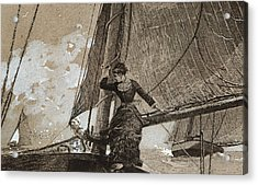 Yachting Girl Acrylic Print by Winslow Homer