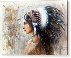 Young Indian Woman Wearing A Big Feather Headdress A Profile Portrait On Structured Abstract Backgr Acrylic Print