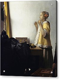 Young Woman With A Pearl Necklace Acrylic Print by Johannes Vermeer