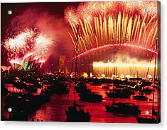 20 Tons Of Fireworks Explode Acrylic Print by Annie Griffiths