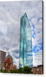 200 Clarendon - Clouds Reflections On The John Hancock Tower Acrylic Print by Joann Vitali