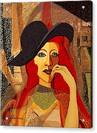 200 - Woman With Black Hat .... Acrylic Print by Irmgard Schoendorf Welch
