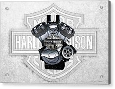 Acrylic Print featuring the digital art 2002 Harley-davidson Revolution Engine With 3d Badge  by Serge Averbukh
