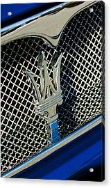 2002 Maserati Combiocorsa Spyder Hood Ornament Acrylic Print by Jill Reger