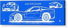 2006 Z06 Corvette Blueprint Series Acrylic Print
