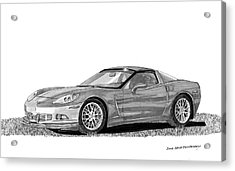 Corvette Roadster, Silver Ghost Acrylic Print by Jack Pumphrey