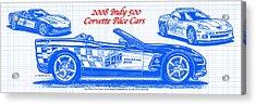2008 Indy 500 Corvette Pace Car Blueprint Series Acrylic Print