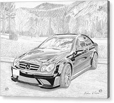 2008 Mercedes Benz Clk63 Black Series Sports Car Art Print Acrylic Print