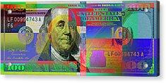 2009 Series Pop Art Colorized U. S. One Hundred Dollar Bill No. 1 Acrylic Print
