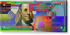 2009 Series Pop Art Colorized U. S. One Hundred Dollar Bill No. 1 Acrylic Print by Serge Averbukh