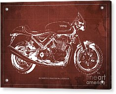 2012 Norton Commando 961 Cafe Racer Motorcycle Blueprint - Red Background Acrylic Print