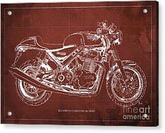 2012 Norton Commando 961 Sport Blueprint Classic Motorcycle Red Background Acrylic Print