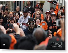 2012 San Francisco Giants World Series Champions Parade - Sergio Romo - Dpp0007 Acrylic Print by Wingsdomain Art and Photography