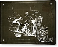 2015 Harley Davidson Flhtcu Electra Glide Ultra Classic Blueprint Brown Background Acrylic Print by Pablo Franchi