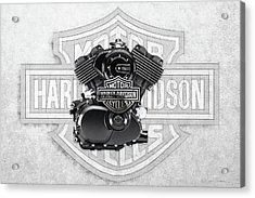 Acrylic Print featuring the digital art 2015 Harley-davidson Street-xg750 Engine With 3d Badge  by Serge Averbukh