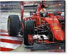 2015 Hungary Gp Ferrari Sf15t Vettel Winner Acrylic Print by Yuriy Shevchuk