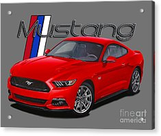 2015 Red Mustang Acrylic Print